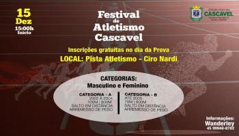 Festival de Atletismo será neste sábado e as inscrições são gratuitas
